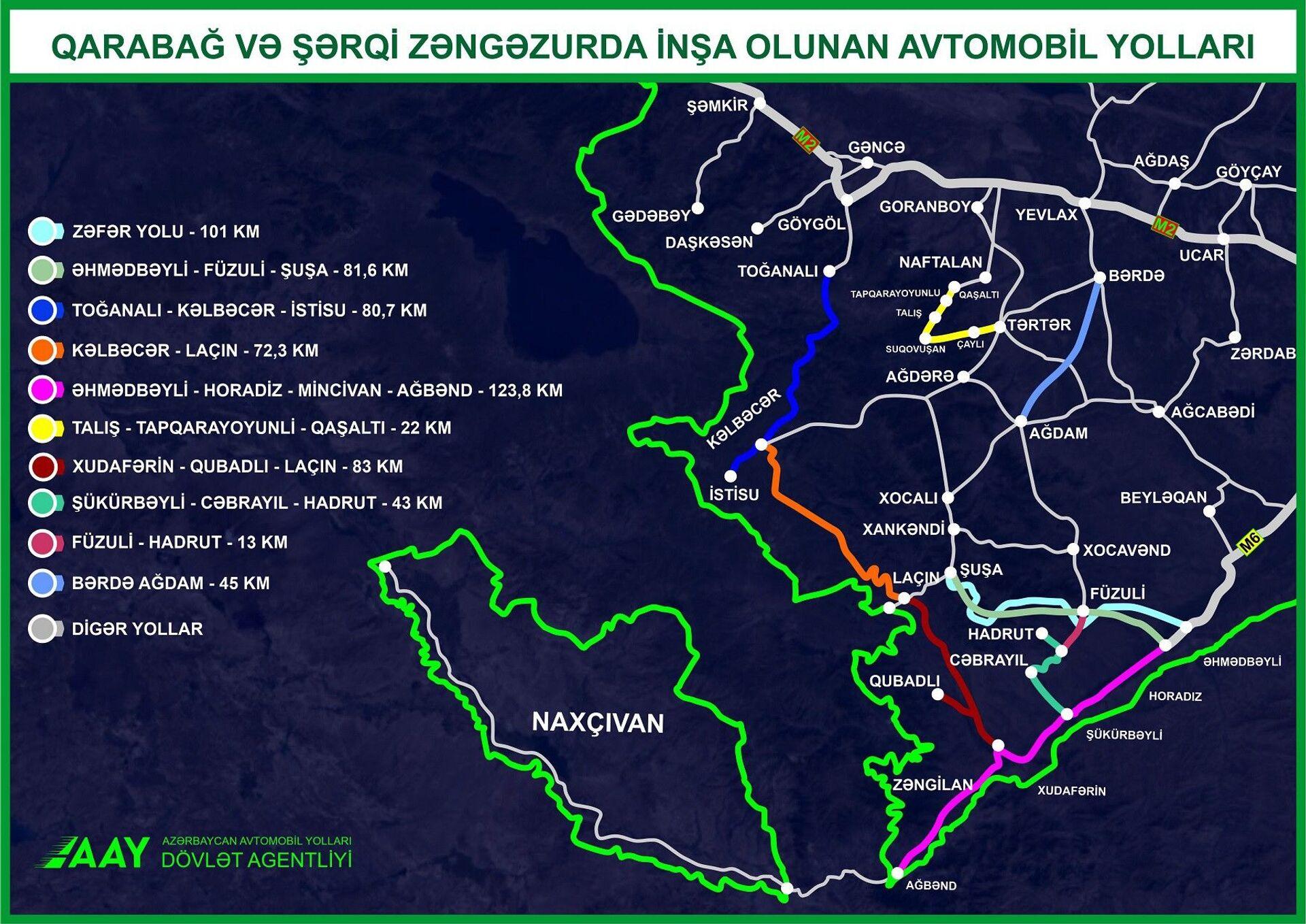 Qarabağ və Şərqi Zəngəzurda inşa olunan avtomobil yollarının xəritəsi - Sputnik Азербайджан, 1920, 01.10.2021