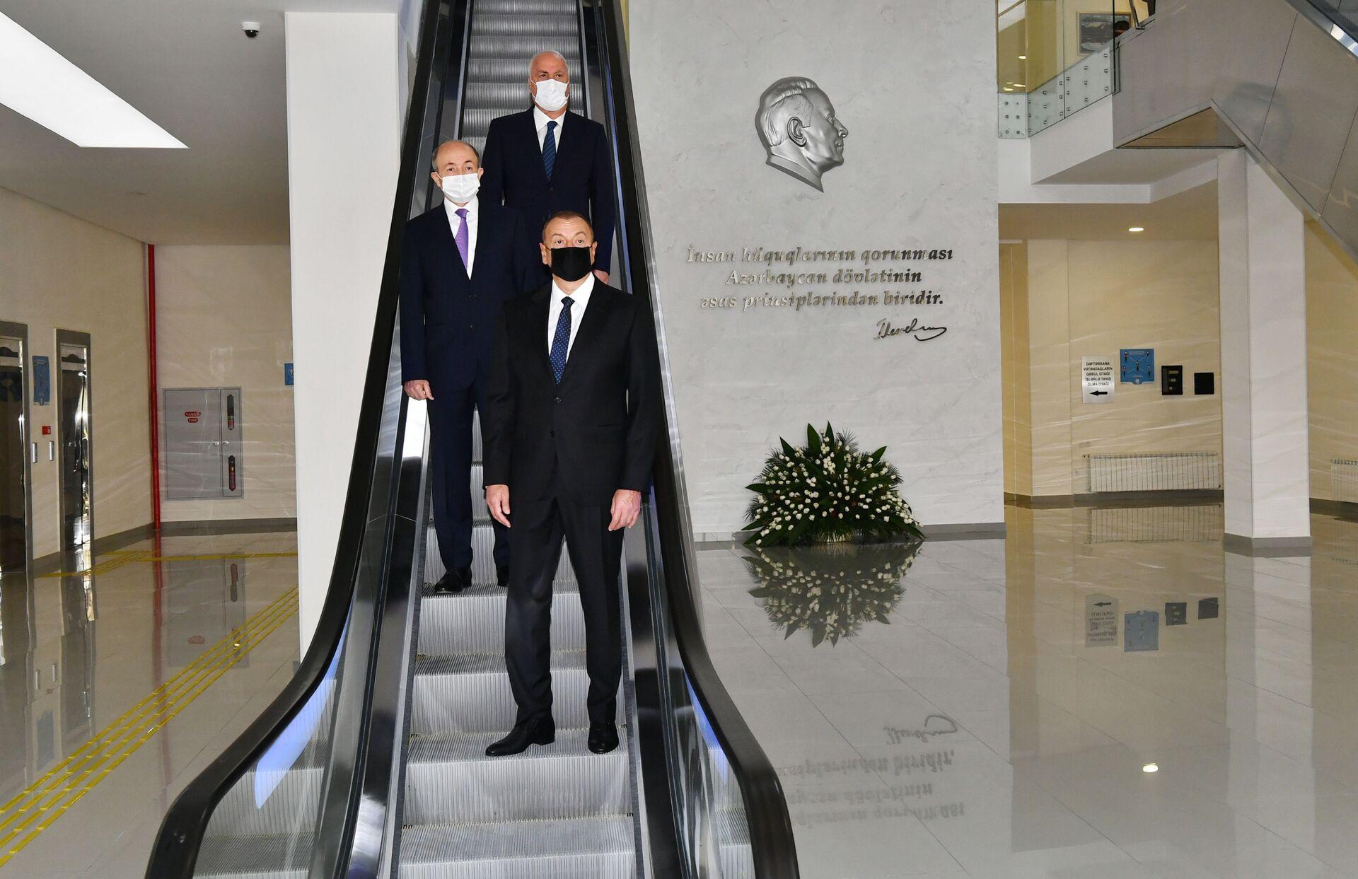 Президент Ильхам Алиев принял участие в открытии Сумгайытского судебного комплекса - Sputnik Азербайджан, 1920, 01.10.2021