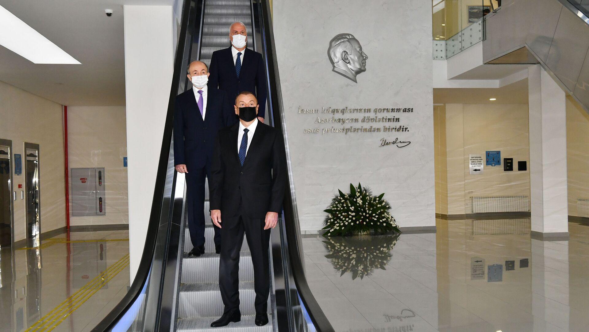 Президент Ильхам Алиев принял участие в открытии Сумгайытского судебного комплекса - Sputnik Azərbaycan, 1920, 03.09.2021