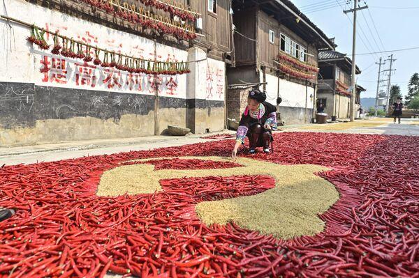 Девушка формирует флаг Коммунистической партии Китая из кукурузы и красного перца в юго-западной провинции Китая Гуйчжоу. - Sputnik Азербайджан