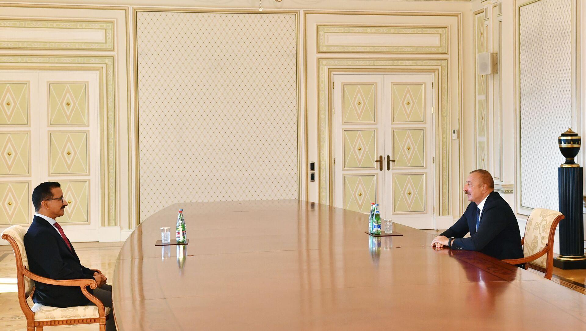 """Prezident İlham Əliyev """"DP World"""" şirkətlər qrupunun sədri və icraçı direktoru Sultan Əhməd bin Sulaimi qəbul edib - Sputnik Azərbaycan, 1920, 21.09.2021"""