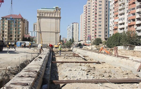Yeni metro stansiyasının tikintisi - Sputnik Азербайджан
