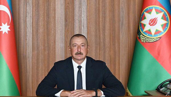 Президент Азербайджана Ильхам Алиев выступиk на 76-й сессии Генеральной Ассамблеи ООН в формате видеообращения. - Sputnik Азербайджан