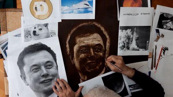 Портрет Илона Маска скальпелем на фанере - Sputnik Азербайджан