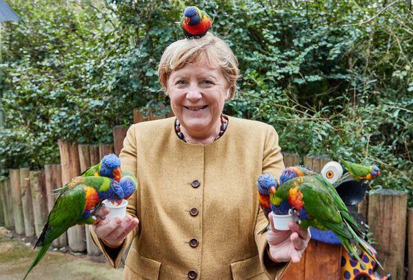Канцлер Германии Ангела Меркель в Парке птиц в Марлоу. - Sputnik Азербайджан