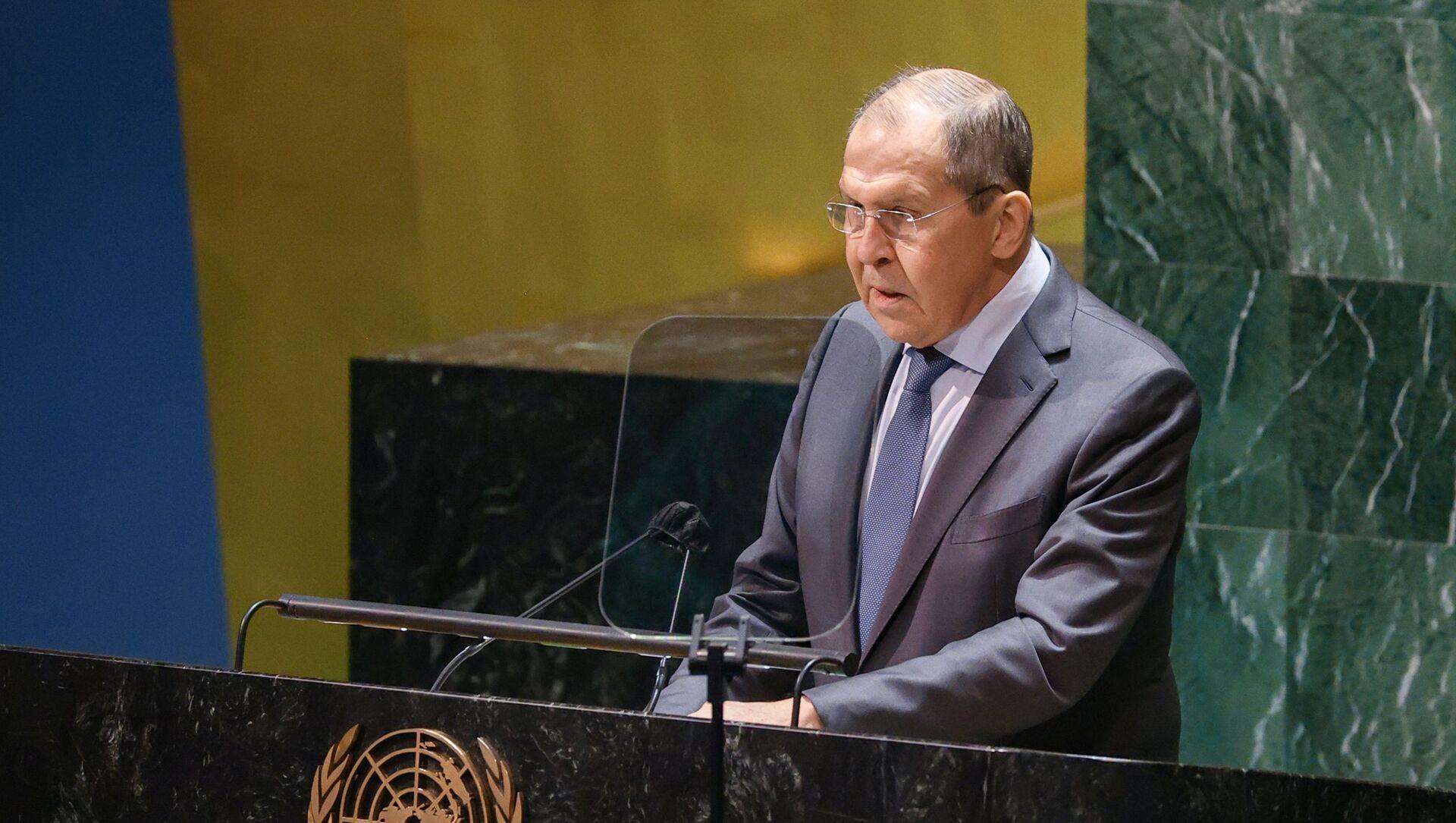 Выступление С. Лаврова на общеполитической дискуссии 76-й сессии ГА ООН - Sputnik Азербайджан, 1920, 26.09.2021