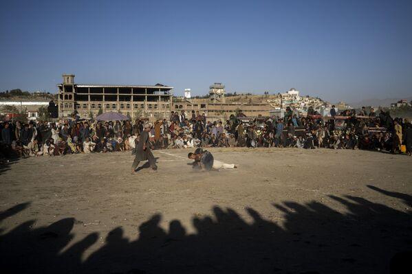 Афганцы смотрят поединок по традиционной борьбе в парке Кабула, Афганистан. - Sputnik Азербайджан