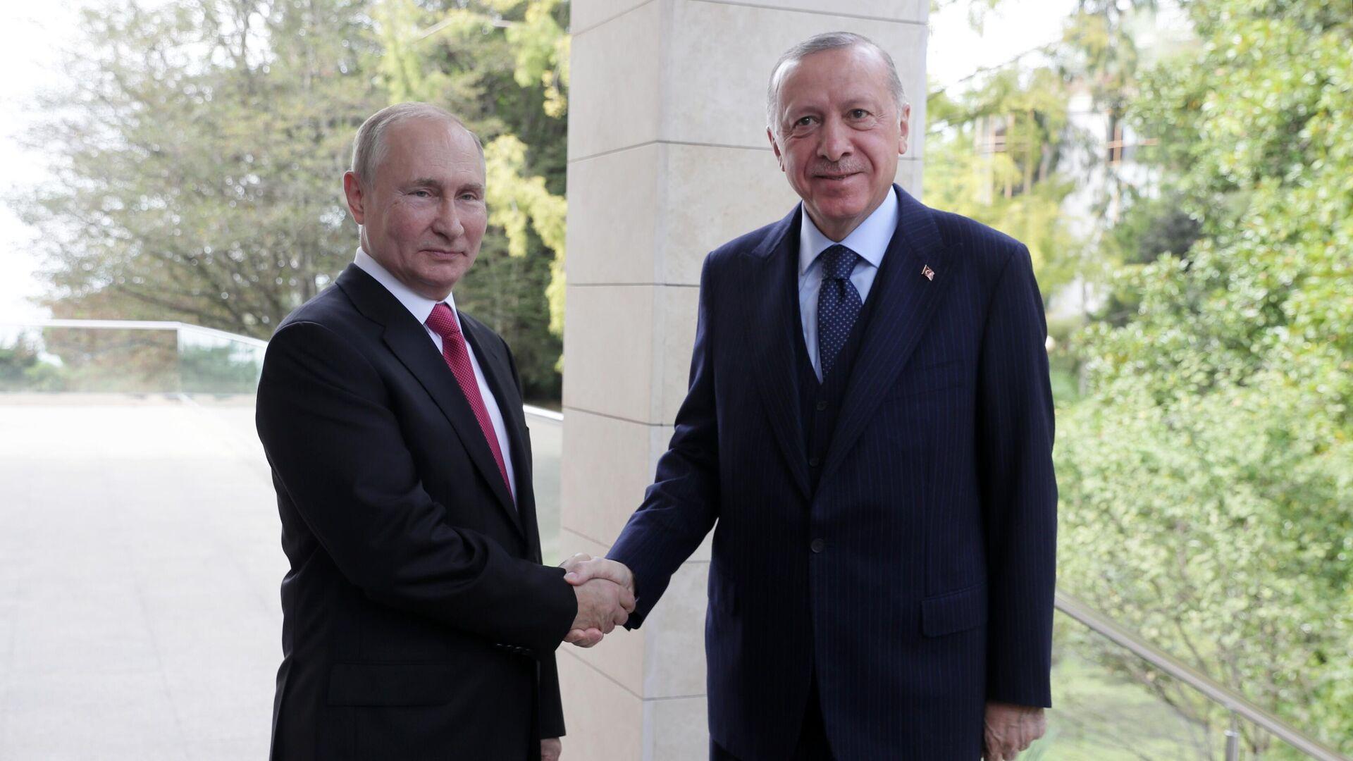 Президент РФ В. Путин провел переговоры с президентом Турции Р. Эрдоганом - Sputnik Азербайджан, 1920, 29.09.2021