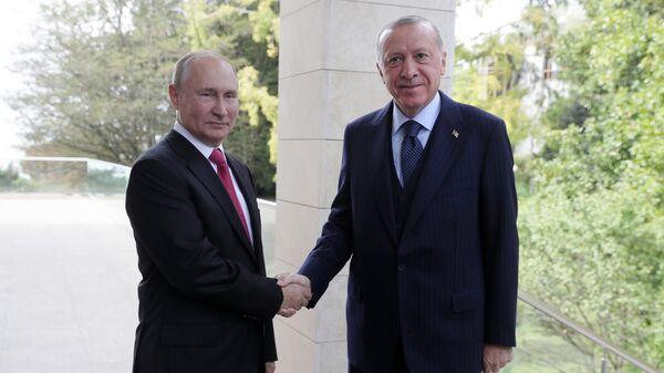 Президент РФ В. Путин провел переговоры с президентом Турции Р. Эрдоганом - Sputnik Азербайджан