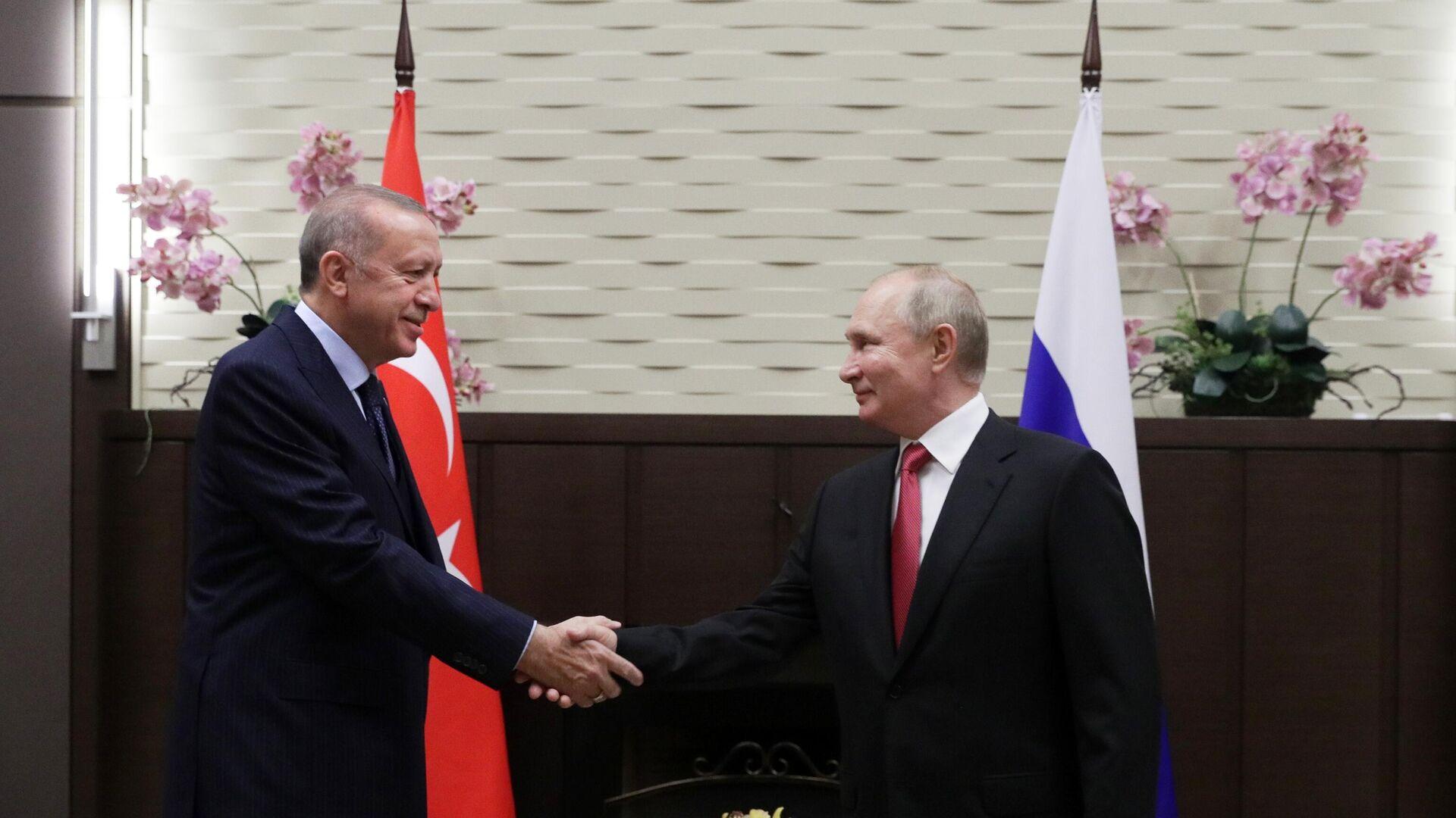 Президент РФ В. Путин провел переговоры с президентом Турции Р. Эрдоганом - Sputnik Azərbaycan, 1920, 02.10.2021