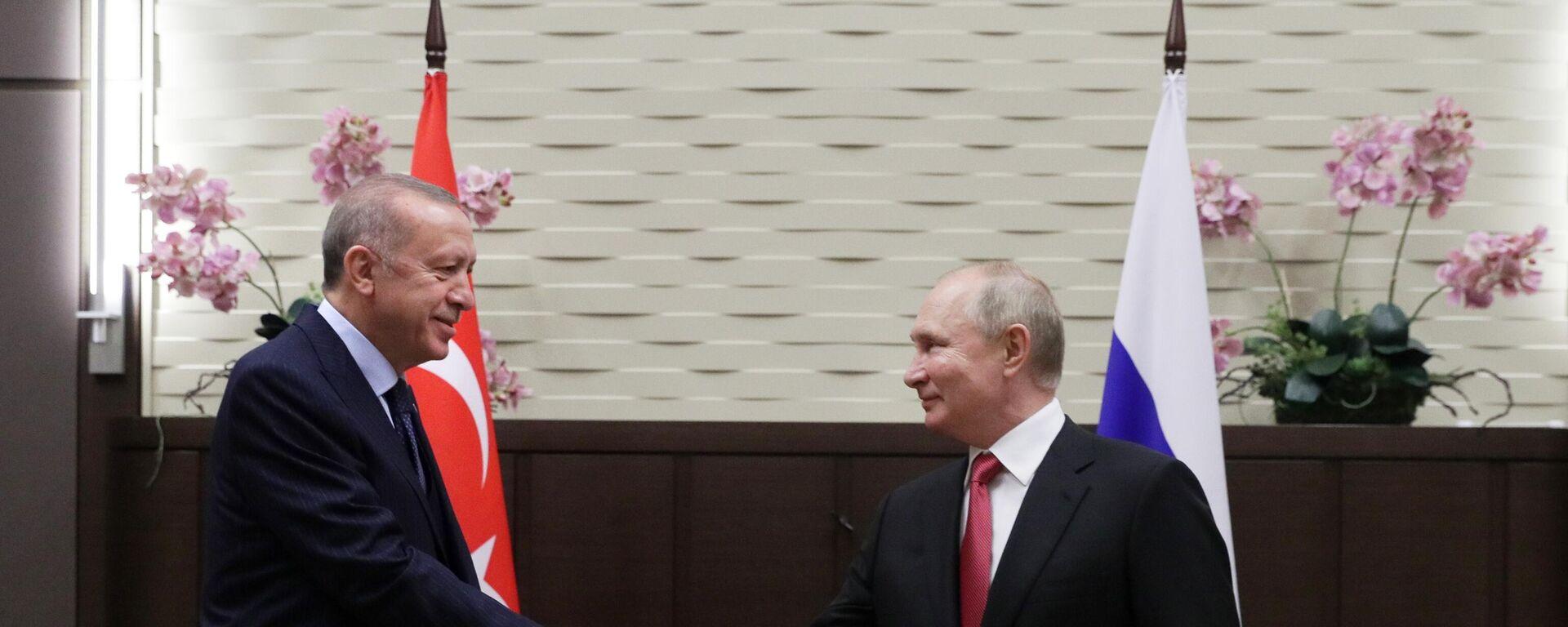 Rusiya prezidenti Vladimir Putin Soçidə Türkiyə prezidenti Rəcəb Tayyib Ərdoğanla görüşü zamanı  - Sputnik Azərbaycan, 1920, 29.09.2021