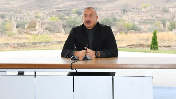 Президент Азербайджана Ильхам Алиев в Джебраильском районе  - Sputnik Азербайджан