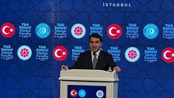 Завотделом по вопросам внешней политики Администрации Президента АР Хикмет Гаджиев на заседании медиаплатформы Турция-Азербайджан - Sputnik Азербайджан