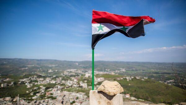 Syrian state flag fluttering above the Krak des Chevaliers castle in Syria - Sputnik Азербайджан