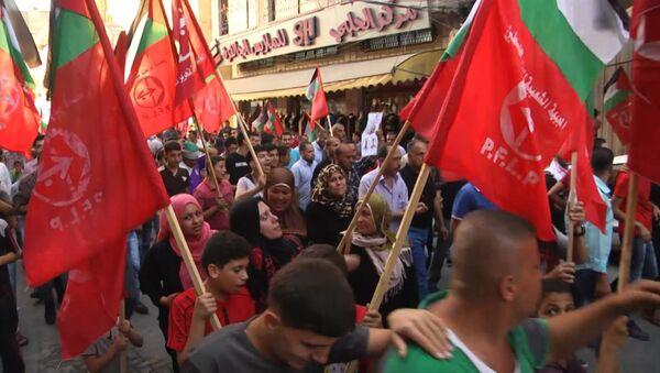 Палестинцы на марше в Джебалии требовали остановить насилие со стороны Израиля - Sputnik Азербайджан