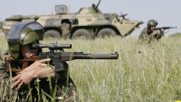 Учения батальонной группы и антитеррористических подразделений ВВ МВД РФ - Sputnik Азербайджан