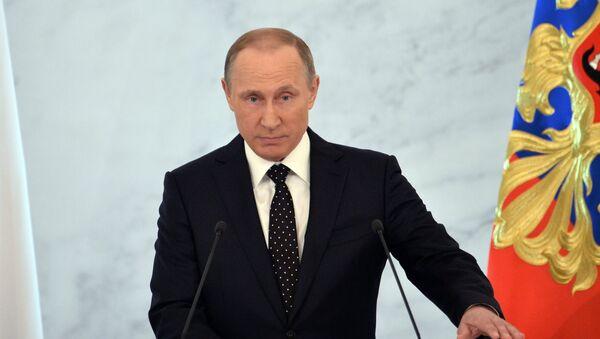 Rusya Devlet Başkanı Vladimir Putin Federal Meclis'e hitap ediyor. - Sputnik Azərbaycan