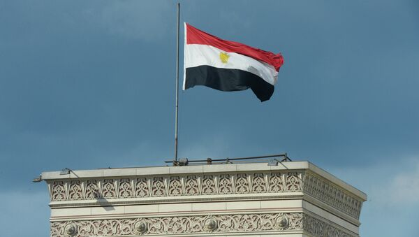 Государственный флаг Египта на здании в Каире, архивное фото - Sputnik Азербайджан