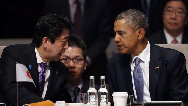 Премьер-министр Синдзо Абэ и президент США Барак Обама. Архивное фото - Sputnik Азербайджан