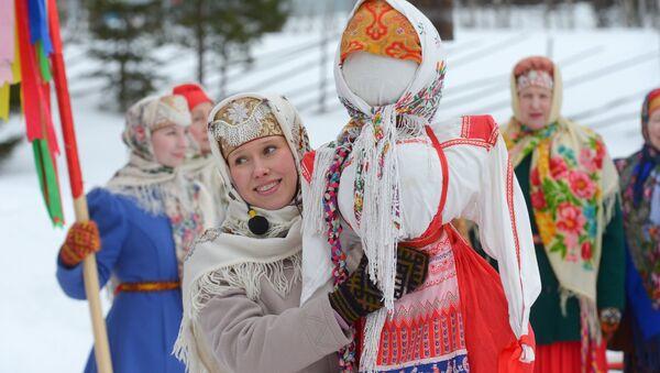 Открытие Масленичной недели в Приморском районе Архангельской области России - Sputnik Азербайджан
