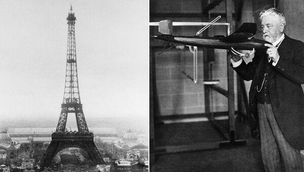Эйфелева башня и ее создатель Гюстав Эйфель. 1889 год - Sputnik Азербайджан