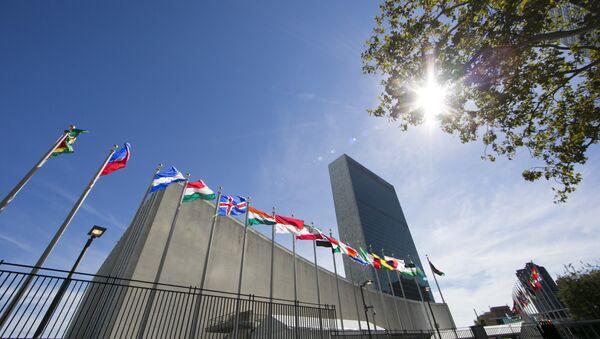 Флаги стран мира перед штаб-квартирой ООН - Sputnik Азербайджан