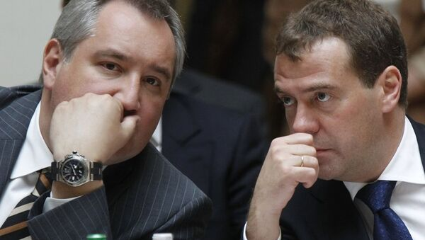 Dmitri Roqozin və Dmitri Medvedev - Sputnik Azərbaycan
