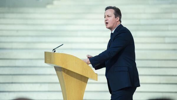 Дэвид Кэмерон выступает с речью в Британском музее в центре Лондона - Sputnik Азербайджан