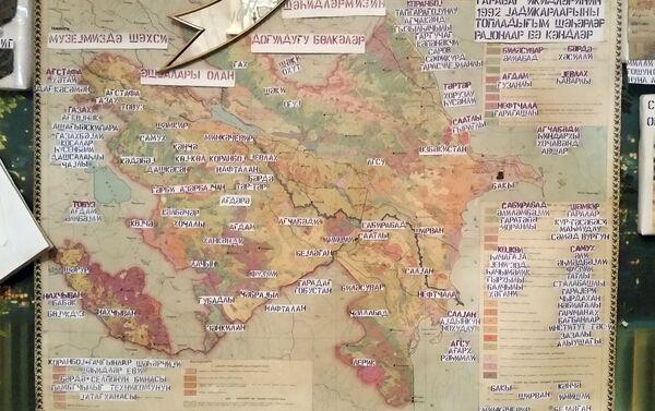 На этой карте отмечены все районы и деревни, куда Эльнара ханум ходила в поисках семей шехидов - Sputnik Азербайджан