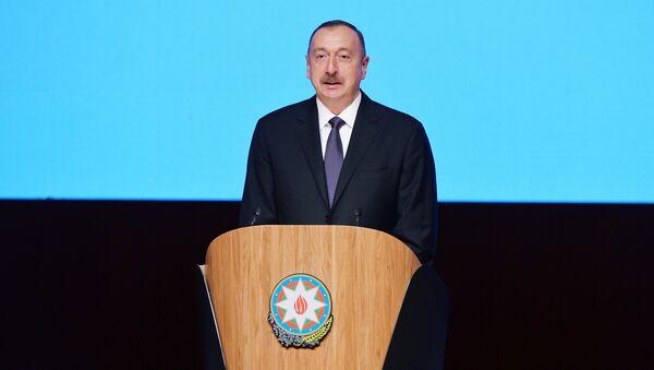Президент Азербайджанской Республики Ильхам Алиев выступает на IV Съезде азербайджанцев мира - Sputnik Азербайджан