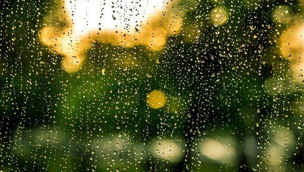 Pəncərə şüşəsindəki yağış damcıları. Arxiv şəkli - Sputnik Азербайджан