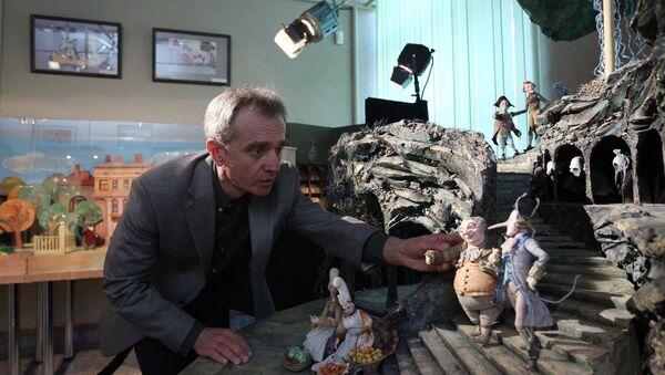 В процессе съемок очередного мультфильма. В кадре - Николай Маковский - Sputnik Азербайджан