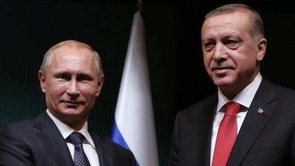 Президент России Владимир Путин и глава Турции Реджеп Таййип Эрдоган - Sputnik Азербайджан