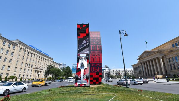 Yusif Səfərov küçəsində quraşdırılan interaktiv gerisayım tablosu - Sputnik Azərbaycan
