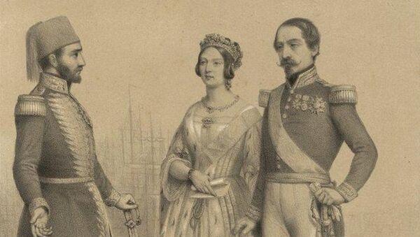 Sultan I Əbdülməcid, Böyük Britaniya və Şimali İrlandiya kraliçası Viktoriya və Fransa dövlətinin rəhbəri Napoleon - Sputnik Azərbaycan