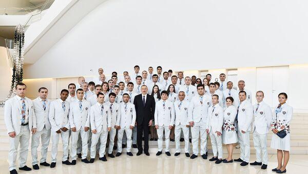 XXXI Yay Olimpiya Oyunlarında iştirak edəcək Azərbaycan nümayəndə heyətinin yolasalma mərasimi keçirilib - Sputnik Azərbaycan