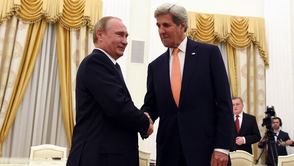 Встреча Владимира Путина и Джона Керри. Москва, Кремль, 14 июля 2016 года - Sputnik Азербайджан