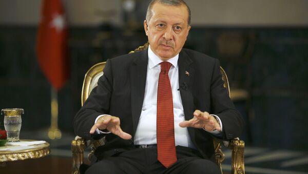 Президент Турции Реджеп Тайип Эрдоган дает интервью агентству Reuters в Президентском дворце в Анкаре - Sputnik Azərbaycan