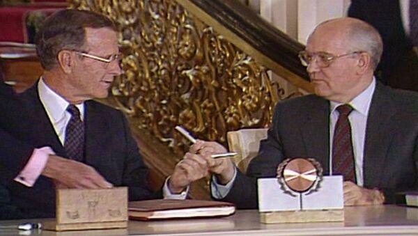 Подписание договора СНВ-1 в Москве. Съемки 1991 года - Sputnik Азербайджан