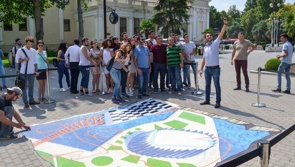 42-ci Ümumdünya Şahmat Olimpiadasına həsr olunan 3D street-art tablosu - Sputnik Azərbaycan