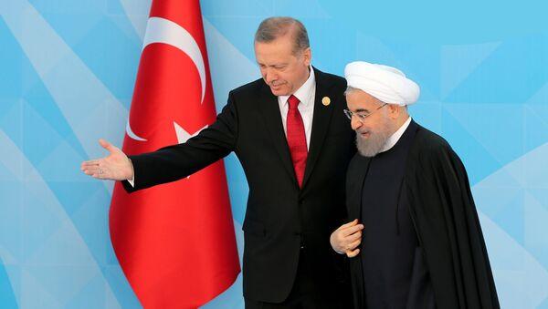 Rəcəb Tayyip Ərdoğan və Həsən Ruhani. İstanbul, 14 aprel 2016-cı il - Sputnik Азербайджан