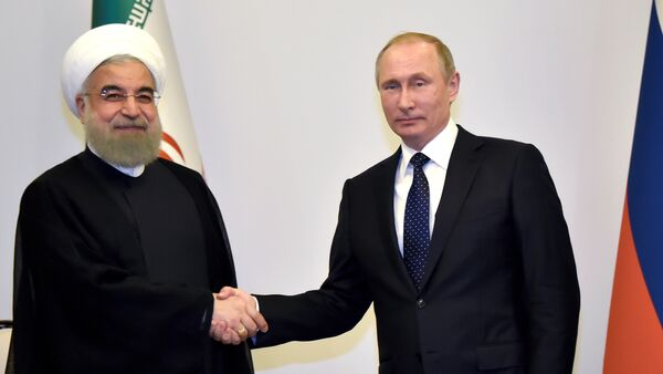 Встреча президентов России и Ирана Владимира Путина и Хасана Роухани. Баку, 8 августа 2016 года - Sputnik Азербайджан