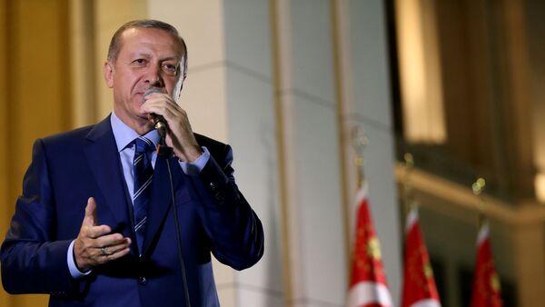 Президент Турции Реджеп Тайип Эрдоган выступает перед своими сторонниками в Президентском дворце. Анкара, 10 августа 2016 года - Sputnik Азербайджан