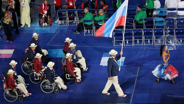 Паралимпийская сборная России на церемонии открытия ХIV летних Паралимпийских игр на Олимпийском стадионе в Лондоне - Sputnik Азербайджан