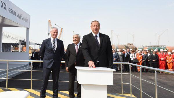 Президент Ильхам Алиев принял в церемонии открытия платформы проекта Шах Дениз-II - Sputnik Азербайджан