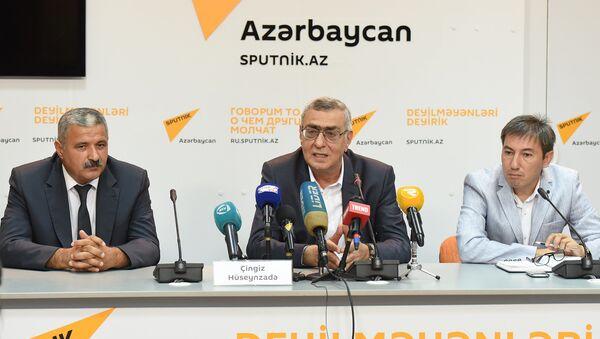 Пресс-конференция вице-президента Национального Олимпийского Комитете Азербайджана Чингиза Гусейнзаде. - Sputnik Азербайджан