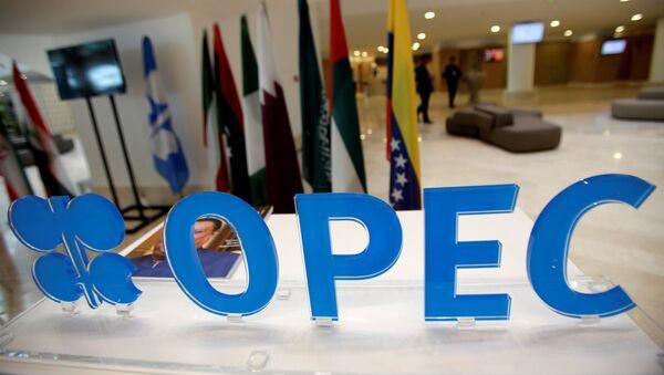 Эмблема лого на неформальной встрече стран-членов ОПЕК  в Алжире - Sputnik Азербайджан