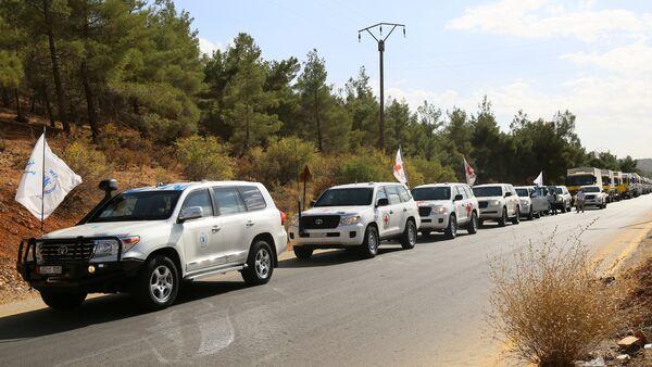 Гуманитарный конвой вблизи Дамаска, Сирия - Sputnik Азербайджан