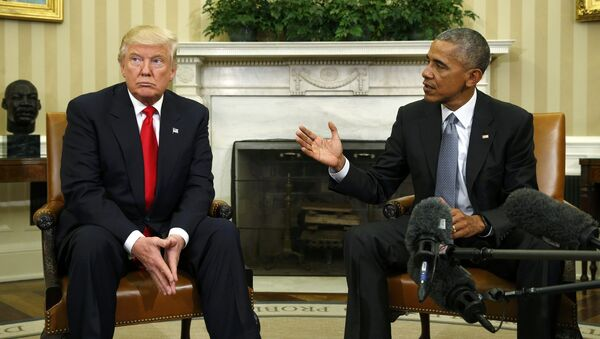 Президент США Барак Обама и избранный президент Дональд Трамп в Овальном кабинете Белого дома, Вашингтон, 10 ноября 2016 года - Sputnik Azərbaycan