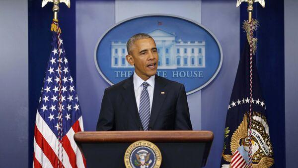 Президент США Барак Обама во время пресс-конференции в Белом доме, 14 ноября 2016 года - Sputnik Азербайджан